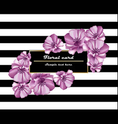Purple flowers card frame on striped vector