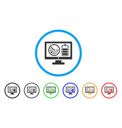Radar battery control monitor rounded icon vector