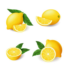 Realistic bright yellow lemon with green leaf vector