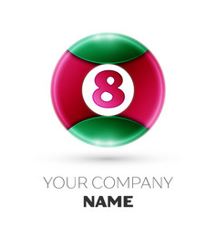 Realistic number eight symbol in colorful circle vector