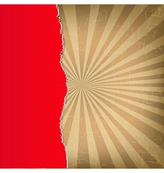 Red Torn Paper With Sunburst Background vector