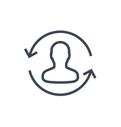 Returning customer line icon on white vector
