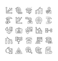 Risk management and insurance icons for adversity vector