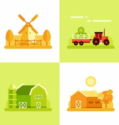 Rural Farm Landscapes Mill Tractor Barn House Set vector image