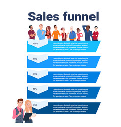 Sales funnel with mix race people portrait stages vector