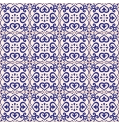 Seamless pattern azulejo light gray and dark blue vector image