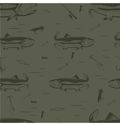Seamless pattern on the subject of fishing With vector image