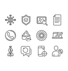 set business icons such as fan engine sales vector image