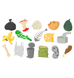 set different cartoon scraps and garbage vector image