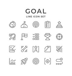 Set line icons of goal vector