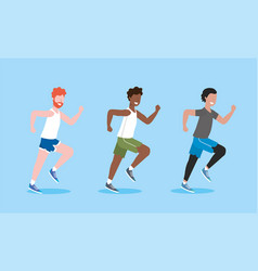 set men training exercise and running activity vector image