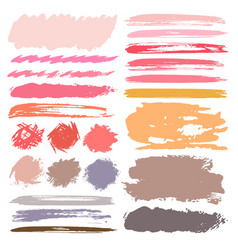 set of brush stroke colorful ink grunge vector image