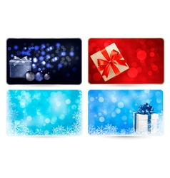 Set of cards with Christmas gift boxes and balls vector
