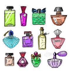 set of women s perfume in a bottle beautiful vector image