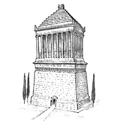 Seven wonders ancient world mausoleum at vector