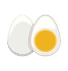 Silhouette color boiled egg and half boiled egg vector