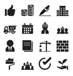 Silhouette construction icons set vector