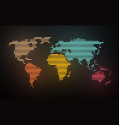 simple map of the world created lines on blurred vector image