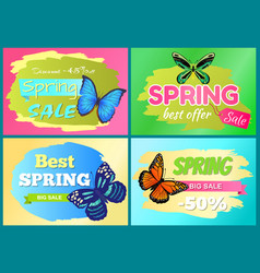 spring offer sale stickers set half price discount vector image
