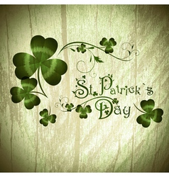 StPatrick day greeting with shamrocks vector image