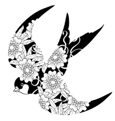 Swallow doodle on white background vector