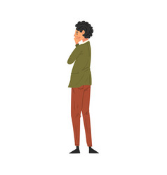 Thoughtful man standing back and looking at vector