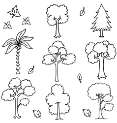 Tree set with hand draw doodles vector
