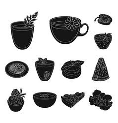 Vegetarian dish black icons in set collection for vector