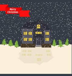 Winter night with lonely house and falling snow vector