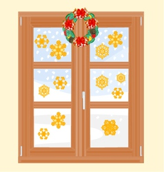 Winter window with Christmas wreath vector image
