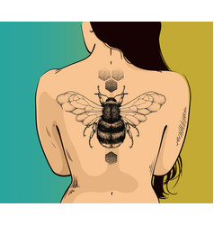 Woman with honey bee tattoo on back vector