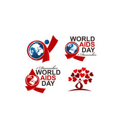 world aids day 1 december set vector image