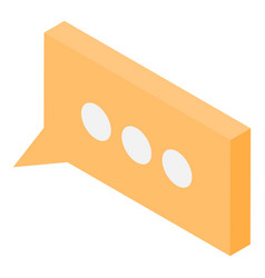 Yellow modern chat icon isometric style vector