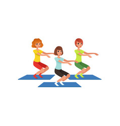Young girls doing squats healthy lifestyle three vector
