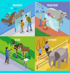 zoo animals isometric design concept vector image