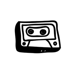audio cassette doodle icon image vector image vector image