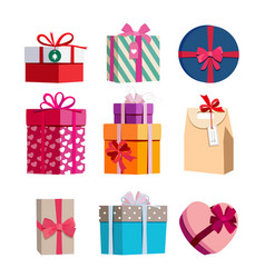 different color gift boxes with ribbons vector image