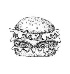 dotwork fast food burger vector image