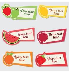 fruit sticker set vector image vector image