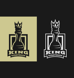 king strategies chess figure emblem logo vector image vector image