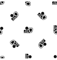oken arm and safety shield pattern seamless black vector image vector image