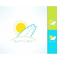 Set of surfing company label logo made in vector image vector image