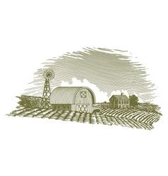 Woodcut Barn and Windmill vector image vector image