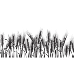 Ears of wheat black horizontal seamless pattern vector image
