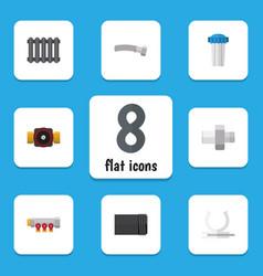 flat icon sanitary set of heater tube corrugated vector image vector image