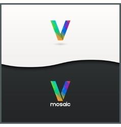 letter V logo alphabet mosaic icon set background vector image vector image