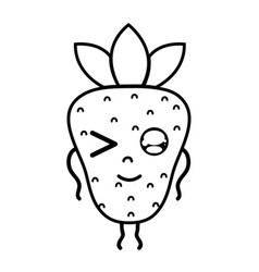 Line kawaii cute funny strawberry fruit vector
