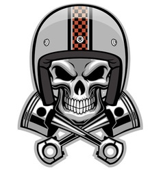 skull and crossed piston vector image vector image