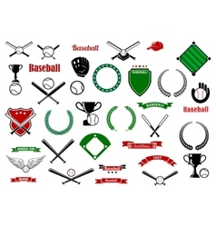 Baseball game sport items and designelements vector image vector image
