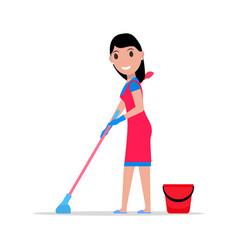 cartoon girl mop and bucket washes floors vector image